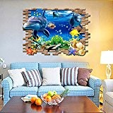 3D Sous-marin Monde Animal Dauphin Requin Poisson Sticker Autocollant Mural Décoration Salle Chambre