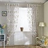 4 pcs Kinlo® rideaux chambre des Fleurs pour Salon et Décoration de la Chambre en Voile Rose 145 * 245cm