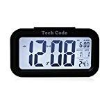5.3 Simple d'utilisation Silencieux avec LED Alarme Horloge avec affichage de la Date-Fonction Snooze Capteur Lumière + Lampe torche (Noir, ...