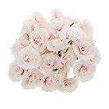 50pcs Fleur Rose Artificielle Capitule Décoration Mariage Maison DIY Blanc