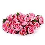 50pcs Roses Artificielles Capitules Têtes de Fleurs Décoration DIY pour Mariage Fête Maison (Rose)