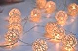 5M 20 LED Guirlande Lumineuse Boules Blanc Chaud en Rotin Pour Noël, Mariage, Patry, Decoration Maison Etc