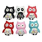 6x 3D charmante Hiboux Owl Coloré Décoratifs Aimants Décor Réfrigérateur Frigo autocollant Notes tableau blanc magnetic enfants cadeau