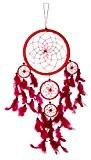 70cm x 21cm Dreamcatcher rouge Capteur de rêves Rose Fuchsiae emplumer bons rêves Amérindien