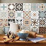 81 carrelage 10x10 cm - PS00009 PVC autocollants carreaux pour salle de bains et cuisine Stickers design - Décorations d'époque
