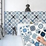 81 carrelage 10x10 cm - PS00062 PVC autocollants carreaux pour salle de bains et cuisine Stickers design - Bleu cobalt