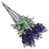 A-goo 50Tête artificielle Lavande Bouquet de fleurs en soie Violet Home Décoration de jardin