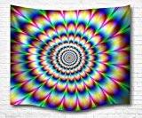 """A.Monamour 60 """"X 60"""" Spinning Psychédélique Autour De L'Image Vertigineuse Cercles Floraux Indien Hippie Mandala Boho Tapisserie Murale Pour Chambre ..."""