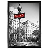 A4 (21x30 cm) Cadre à photo en bois noir avec vitre protectrice; Conçu pour présenter des photos 21x30 cm; Dispositif ...