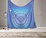 Aakriti Gallery Couvre-lit type Tapisserie Hippie Bohème Psychédélique Indien Mandala - effet dégradé 233,7x 208,3cm - bleu