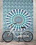 Aakriti Gallery Tapisserie murale pour décoration intérieure Mandala Hippie Résidence universitaire 213,4x 139,7cm - Bleu