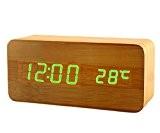 Accueil radio-réveil chevet nuit d'horloge en bois opto-électroniques à cloches-contrôlée conduit horloge en bois , 1