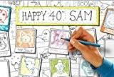 """Affiche de fête à colorier """"50 portraits"""""""