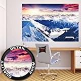 Affiche panoramique d'Alpes décoration de peinture murale d'hiver de neige et de coucher du soleil Paysage de montagnes montagne de ...