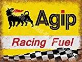 Agip Course Carburant Essence Huile Sport des motos Moteur course Garage Métal/Panneau Mural Métalique - 15 x 20 cm