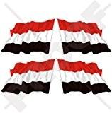 Agiter Yémen al-Yaman, drapeau du Yémen 5,1cm (50mm) bumper-helmet en vinyle autocollants, Stickers x4