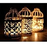 Aihometm Cage à oiseaux Style vintage Motif creux fer Bougeoir Creative Carve Motif Arts Bougeoir romantique Bougie Lanterne pour décoration ...