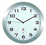 Alba HORISSIMORC M Grande Horloge Silencieuse Radio Contrôlé Gris Métal 38 x 5,5 x 38 cm