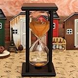 Aliciashouse 60 minutes en bois cadre sablier sablier sable minuterie Accessoires décoration-cadeaux - noir + orange