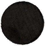 Alterego - Tapis design 'CAVA' rond 200 cm à poils longs noir