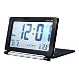 Alxcio Foldable Réveil Horloge Snooze Alarme Numérique Écran LCD Calendrier Digital Grand Chiffre Affichage de date et Température (Schwarz)