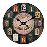 Alxcio Horloge Murale Ronde en bois Design Vintage Silencieuse pour Décoration de Bureau Salon Maison Salle avec Chiffre Romain Mouvement ...