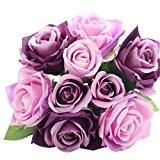 Amlaiworld Fleurs de faux soie artificielles 9 têtes de la feuille Rose, Decor Floral mariage, Bouquet de la mariée (Violet)