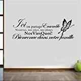 aooyaoo Noir citation de famille stickers muraux décoration de la maison115cm x 42cm