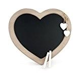 Ardoise en forme de coeur en bois style maison de campagne avec craie 30 x 27 cm