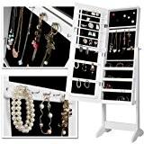 Armoire à bijoux sur pied - Blanc - avec miroir - 139,5 x 40,9 x 36,5 cm - bois et ...