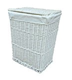 Arpan Medium White White Wicker Washing Cloth Basket With White Lining by ARPAN