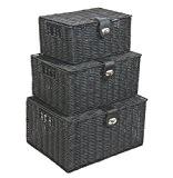 ARPAN Noir Lot de 3Boîte en résine Tissé Panier de rangement avec couvercle & Lock