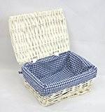 Arpan Panier de rangement en osier avec couvercle Motif vichy bleu/blanc traditionnel Taille S