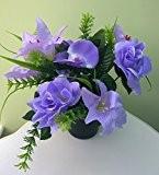 Arrangement de fleurs artificielles funéraire commémorative Vase Rose Lily Orchidée 4couleurs