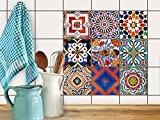 Art de tuiles mural | Feuille adhésive décorative carreaux - Personnaliser cuisine | Design Portugiesische Fliesen | 20x20 cm (9 ...