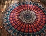 Art Déco Tapisserie Indien Coton Unique Bleu Tapisserie Round Tapestry Floral Imprimé Par Rajrang