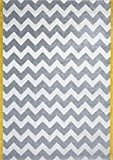 Art for Kids Chevron Salon Graphic Zick Zack Tapis Moderne, blanc/gris/jaune, 120 x 170 cm