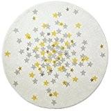 Art pour enfant Living Chambre NOVA Tapis rond, blanc/gris/jaune, 120cm