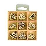 Artemio Mini décorations en forme de sapins de Noël Bois Beige 2,5cm