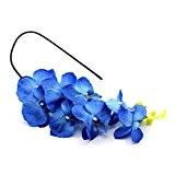 Artificielle Fleur Orchidée Papillon de Tissu Pouquet de Phalaenopsis pour Homme Décor du Mariage(Bleu)