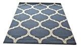 Aspect Toile marocain Treillis/géométrique Tapis, Bleu, 120x 170cm