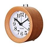 AUDEW Réveil Classique Silencieux Alarme Horloge Chevet en Bois de Hêtre avec Veilleuse Creative Pour Home/Bureau/Chambre