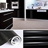 Auralum® 5x0.61cm PVC Cabinet Autocollant auto-adhésives feuille décoratifs rouleaux papier peint pour armoires cuisine Meubles Noir