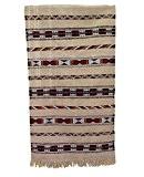 Authentique marocain Fait à la main tissé main Kilim Tapis en laine 100%–1.55x 0.88m–Crème avec rayures berbère en rouge jaune ...