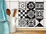 Auto-adhésif décoratif carreaux | Accessoire de décoration - Renovation salle de bains | Motif Marbre Muster | 15x15 cm (9 ...