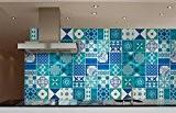 Autocollant Carrelage pour la Cuisine Bleu Indigo (Pack avec 36) (10 x 10 cm)