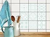 Autocollant Carrelage Sticker | Idée de décoration - Bricolage salle de bains | Design Türkise Ornements 3 | 20x20 cm ...