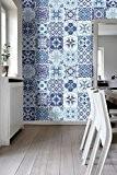 Autocollant Décoration Carrelage pour Cuisine Portugais Bleu (Pack avec 48) (20 x 20 cm)