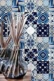 Autocollant Muraux Carrelage pour Salle de Bain Décoration Tons Bleus (Pack avec 36) (20 x 20 cm)
