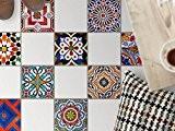 Autocollant sticker carrelage sol | Stickers mosaïques - Enjolivement de salle de bains | Motif Carrelages Portugais | 20x20 cm ...